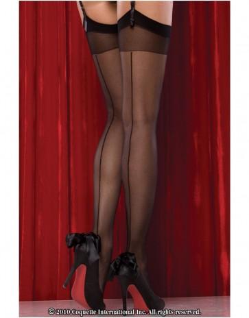 Black Sheer Back Seam Stockings CQ1756 by Coquette