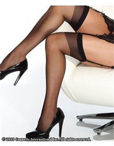 Black Sheer Thigh High Stockings CQ1706