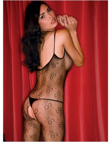 Floral Lace Bodystocking - Black