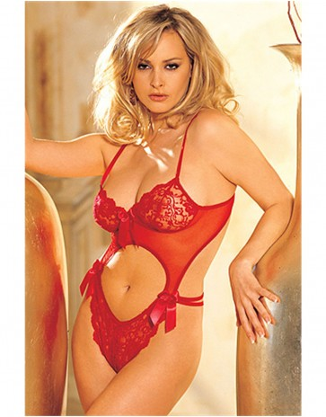 Red Rose Lace Teddy By Shirley 6237
