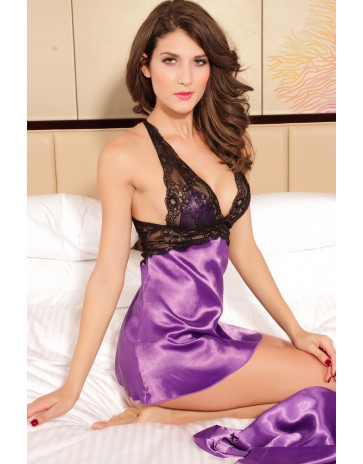 Seduce Babydoll & Robe Set in Purple