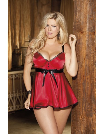 Shirley of Hollywood Tuxedo Plus Size Red Baby Doll X25106