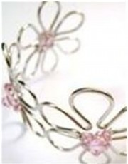 Silver with Pink Stones Bangle