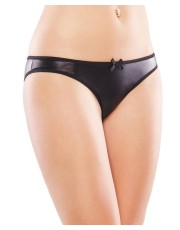Black Wet Look Crotchless Panty