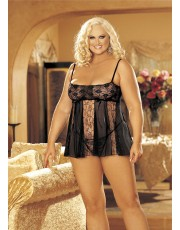 Shirley of Hollywood Black Plus Size Babydoll Set 96120Q
