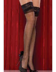 Black Sheer Hold Up Stockings With Lace Top