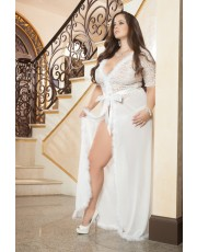 Ivory Glam Night Plus Size Robe By Gworld - D1504P