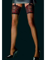 Essential Lace Top Stockings By Le Bourget in Black, White & Black/Red