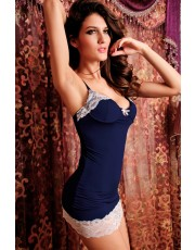 Seductive Navy Lace Trim Chemise
