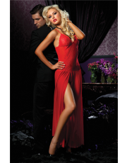 Seven 'til Midnight Floor Length Red Mesh Gown (STM9380)