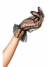 Black Flocked Dot Gloves