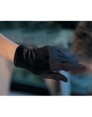 Wrist Length Black Satin Gloves