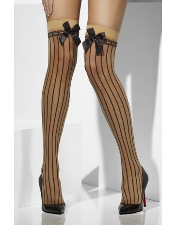 Fever Nude Hold Ups With Vertical Stripe & Bow