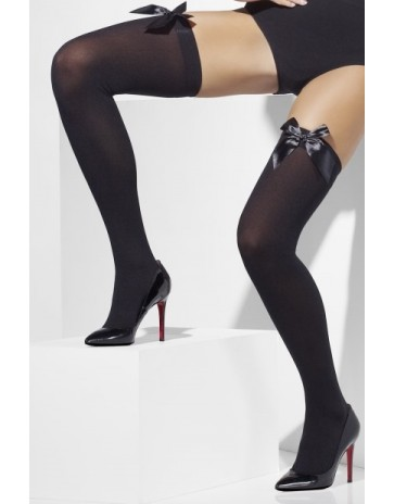 Fever Opaque Hold Ups With Bow