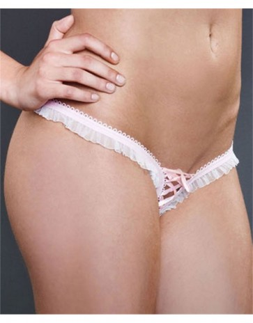 Fearless & Fun Ruffle Mesh Lace-Up Crotchless Thong Panties 006