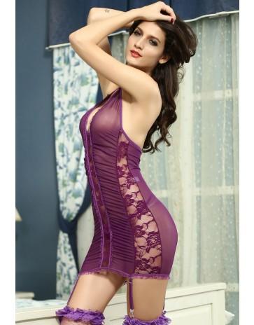 Purple Stretch Lace and Mesh Garter Slip