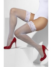 Fever White Fishnet Holdups With Lace Tops