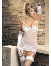 Strappy White Stretch Lace Chemise By Shirley 3048