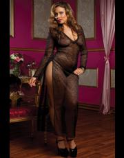 Seven 'til Midnight Plus Size Black Floral Lace Gown (STM9604X)