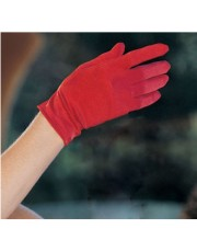Wrist Length Red Satin Gloves