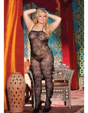 Shirley Of Hollywood Plus Size Black Lace Halter Bodystocking X90280