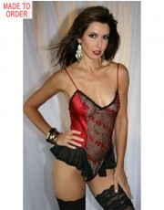 Carmen Red Silk Teddy by Diki Lingerie